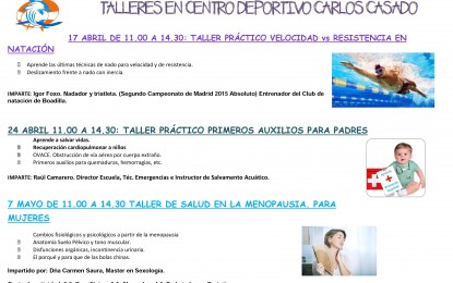 """Talleres en la Piscina Climatizada """"José Carlos Casado"""""""