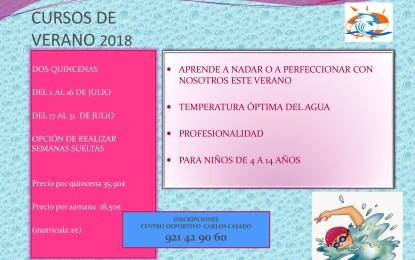 """Cursos de verano 2018 en la Piscina Cubierta """"José Carlos Casado"""""""