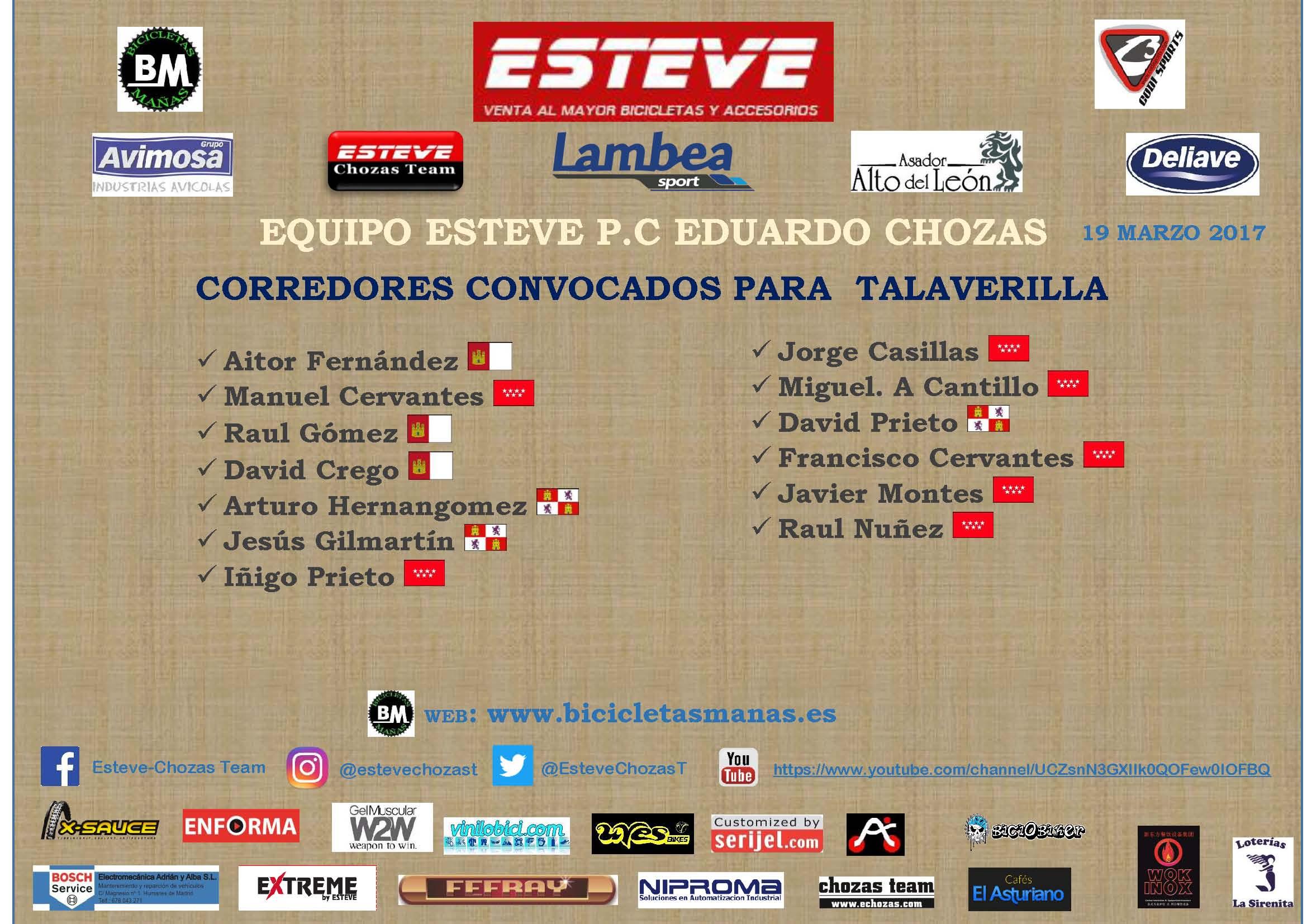 Los ciclistas segovianos del equipo Esteve, en cuatro frentes