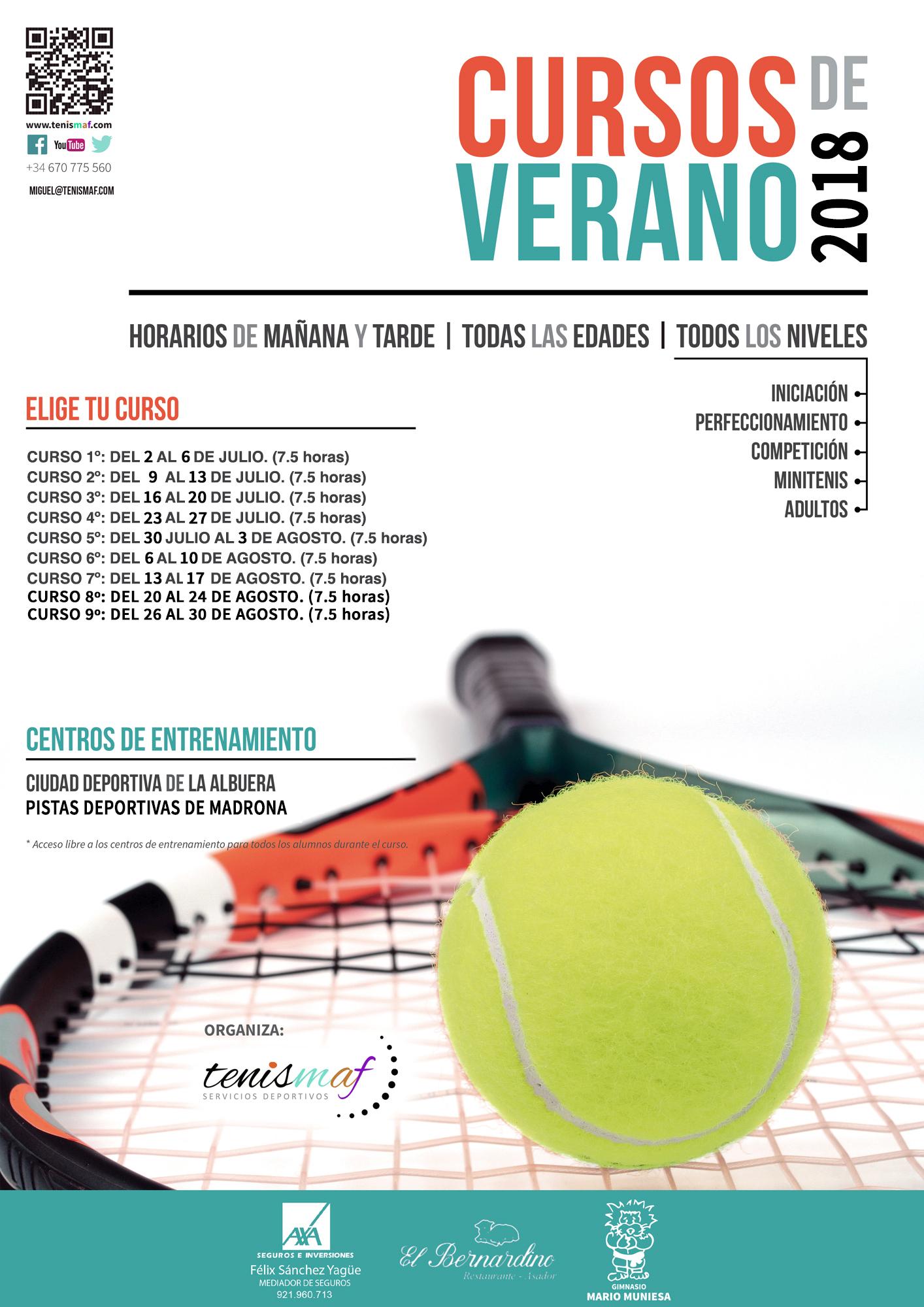 Abierta la inscripción a los Cursos de Tenis de Verano organizados por Tenismaf