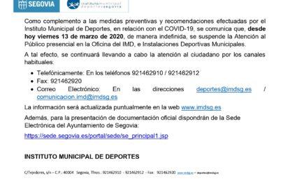 Suspendida la Atención al Público presencial en la Oficina del IMD e Instalaciones Deportivas Municipales