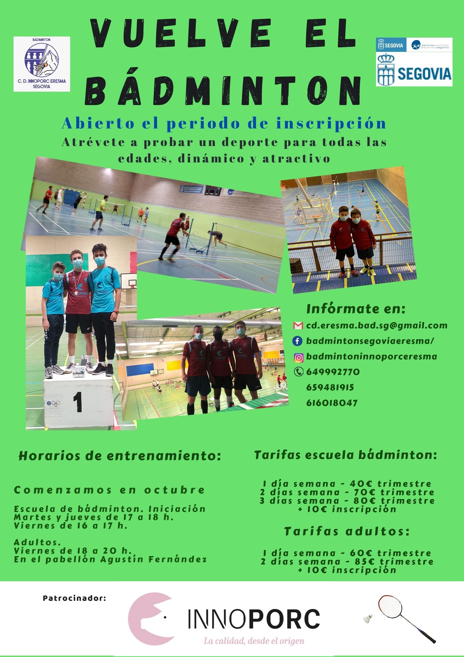 Club Deportivo Eresma de Bádminton: Comienzo de la temporada