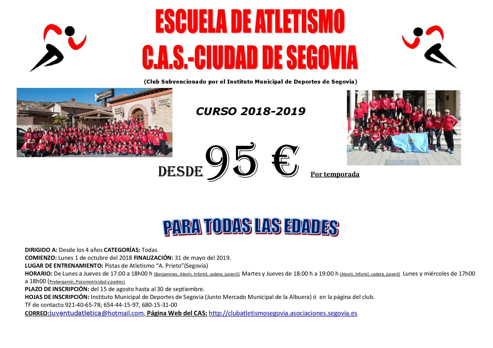 XXXIII Temporada de la Escuela de Atletismo del CAS-Ciudad de Segovia