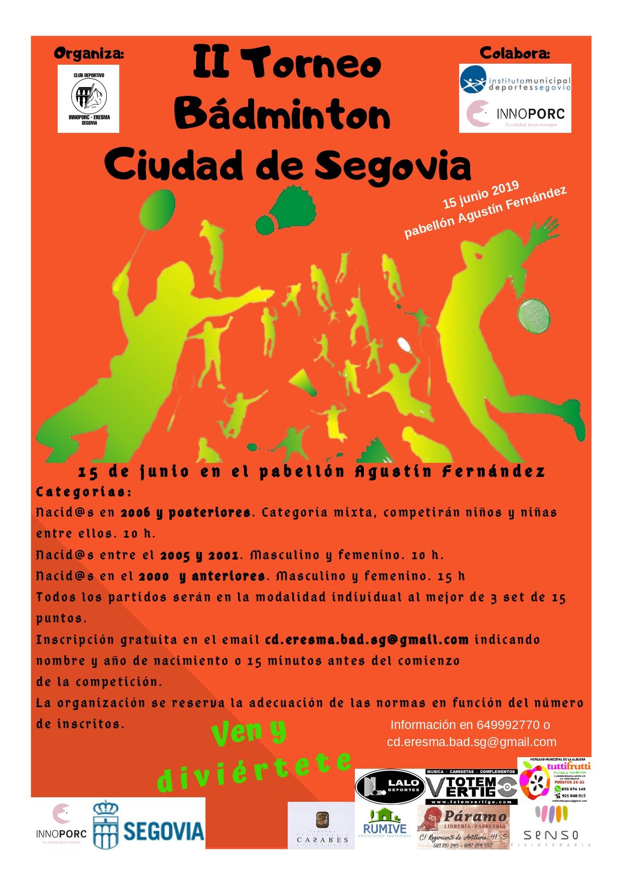 """Ferias y Fiestas 2019: II Torneo de Bádminton """"Ciudad de Segovia"""""""