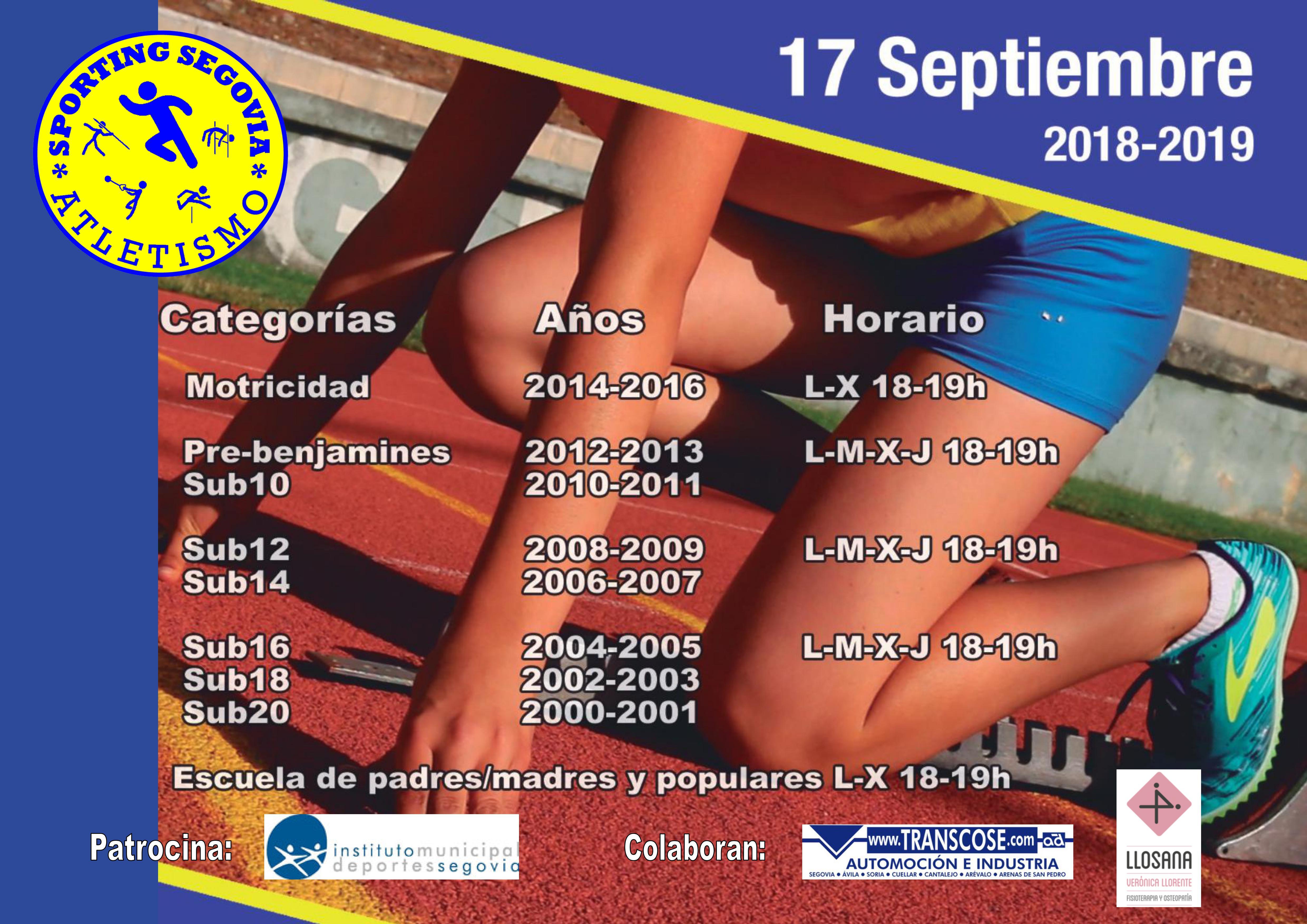 Club de Atletismo Sporting Segovia: Comienza la temporada 2018-19