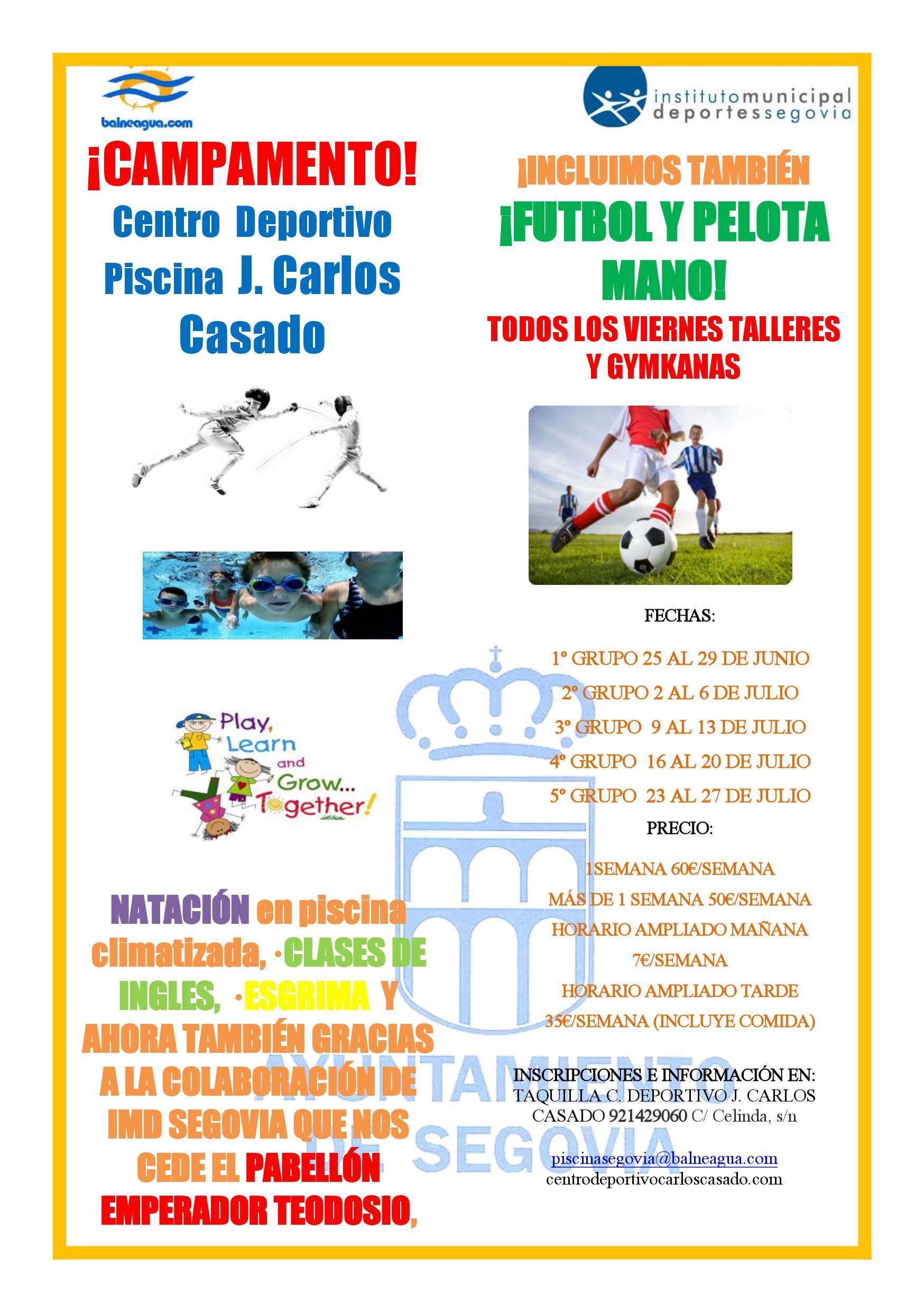 """Campamento de verano Piscina Climatizada """"José Carlos Casado"""""""