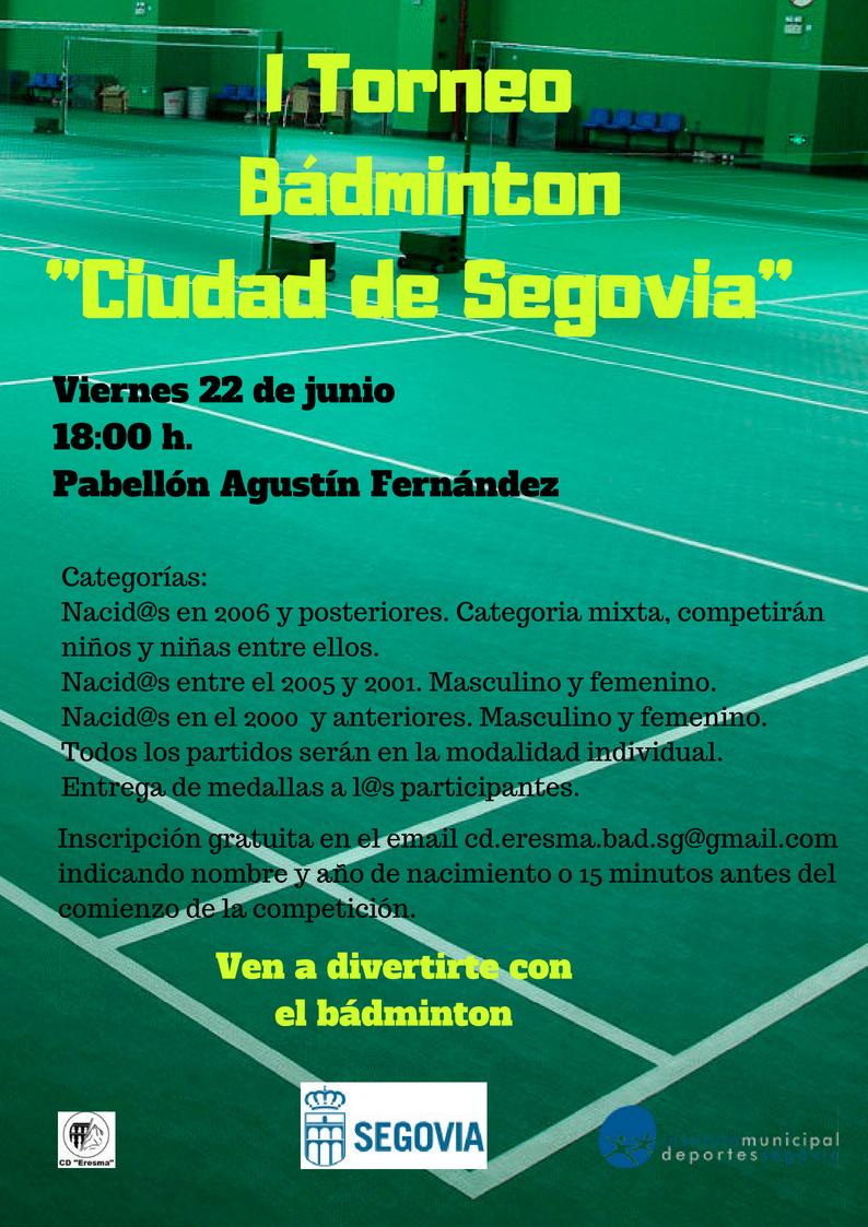 """Ferias y Fiestas 2018: I Torneo de Bádminton """"Ciudad de Segovia"""""""
