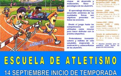 El Club Deportivo Sporting Segovia abre el plazo de Inscripción en la  Escuela de Atletismo 2015-16