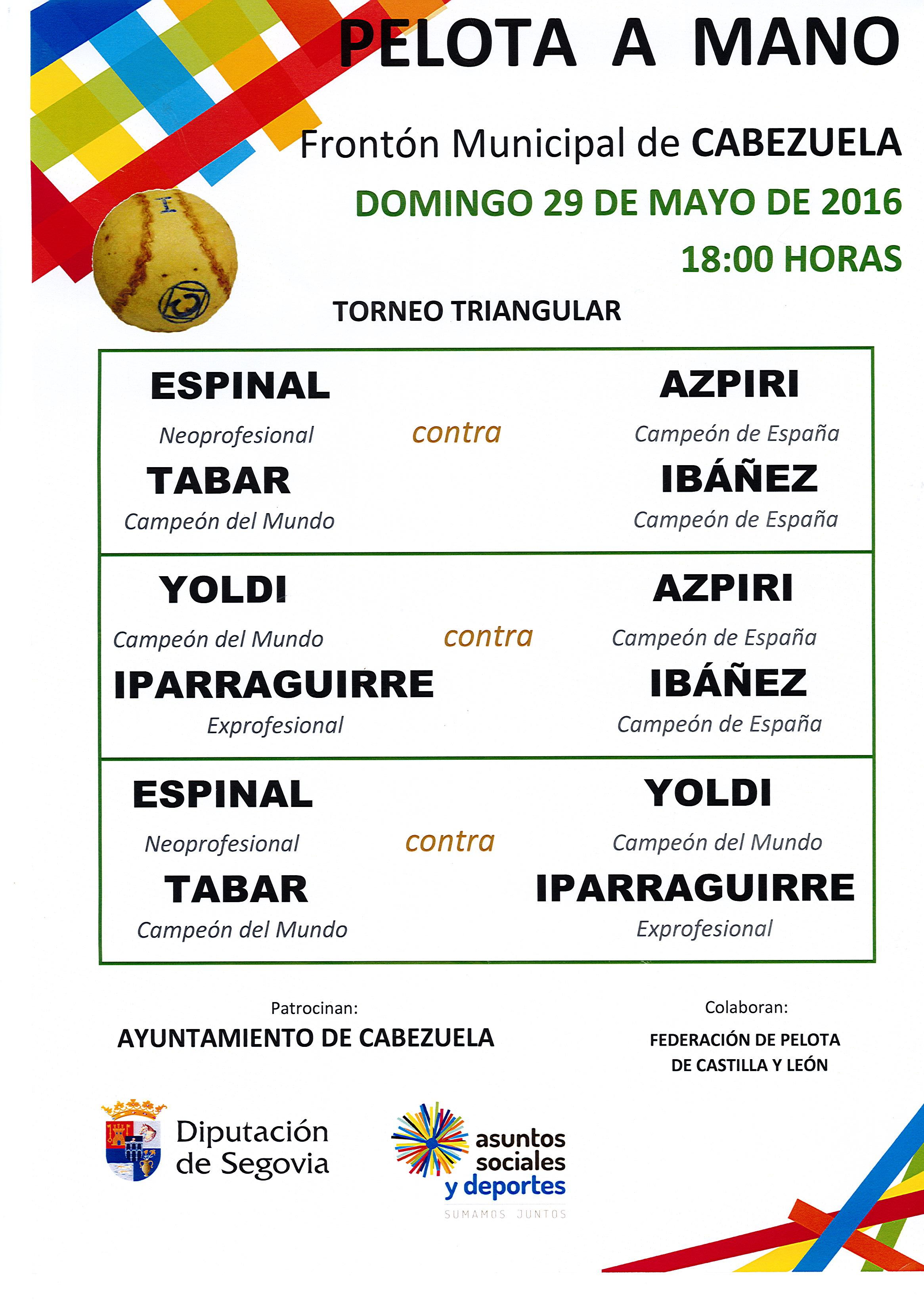 Gran partido de Pelota a mano Triangular en Cabezuela